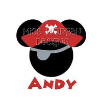 Personalized Pirate Mickey Mouse Disney iron on by MissMorgan, $7.00