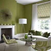 Simple Sweet Retro Living Room - love the crisp green and white.