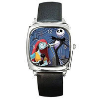 Jack Skellington and his Girl Sally on a Silver Square Watch with Leather Band - Ships from Indiana $32.00