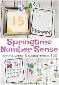FREE Spring Number Sense - lots of fun, hands on math activities to practice counting to 20, writing numbers 1-20, and more with spring themed clip cards, salt tracing, and counting mats. Perfect for preschool, kindergarten, and first grade