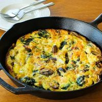 Mushroom Lovers Frittata with Spinach and Cheese from Kalyn's Kitchen
