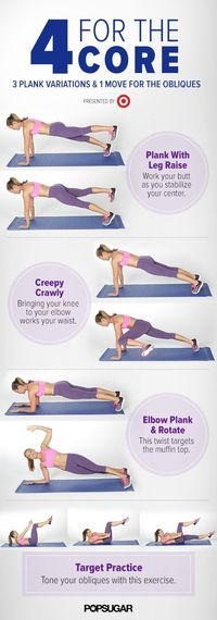 Even if you only have five minutes, you can fit in an ab workout. This workout targets the obliques to tone the muffin top and will work your middle from all