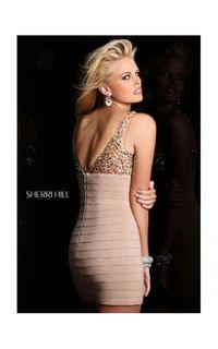 Nude Sherri Hill 21107 Embellished Mini Dress 2014