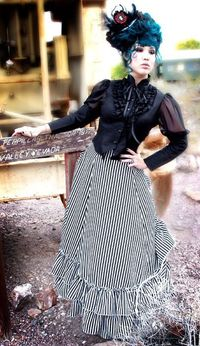 Steampunk, adore the skirt, and the blouse is pretty, would love it in another color.