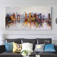 New York skyline oil paintings on Canvas Original heavy texture Statue of Liberty cityscape extra large framed wall art cuadros abstractos $129.00