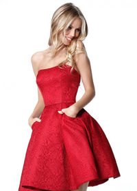 Gorgeous Pleated A-line Strapless Red Semi Open Back Homecoming Dress