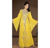 Yellow Faux Georgette Popular Modern Islamic Kaftan