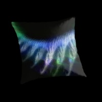 Fractal flame throw pillow with green, blue and black