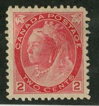 Canada #77 (SG#155) 2c Pale Carmine Red 1898-1902 Numeral Issue Horizontal Wove Paper VF-78 OGHR $27.89