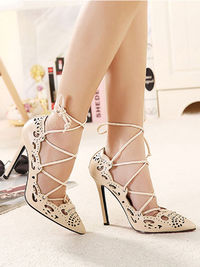 Apricot Cut Out Tie Up High Heels