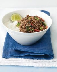 Thai Beef with Chiles and Basil Over Coconut RiceThai Beef with Chiles and Basil Over Coconut Rice (MSL)