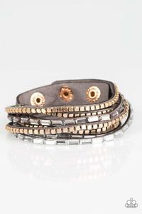 Paparazzi This Time With Attitude - Smoky and White Rhinestone Gold Cube Bead Gray Suede Double Wrap Bracelet $5.00