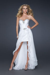 Beautiful Sequin Embellished Strapless White High Low Dresses for Prom