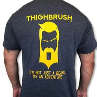 """THIGHBRUSH® TACTICAL - ARMED FORCES COLLECTION - """"It's Not Just a Beard, It's an Adventure"""" Men's T-Shirt - Heather Navy and Gold"""