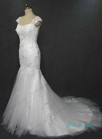 Florals lace mermaid wedding dress with cap sleeves