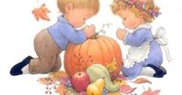 Giving Thanks. Halloween/Thanksgiving Season. Super Cute. Illustrated by Ruth Morehead