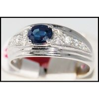 Natural Solitaire Diamond Blue Sapphire Ring 18K White Gold [R0013]
