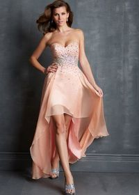 2014 Strapless Peach Cheap High Low Beaded Prom Dress