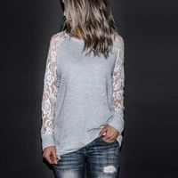 Fashion Women's Casual Lace Long Sleeve Crop O-Neck Pullover Blouse $17.60