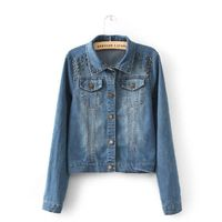 Womens Gold Metal Stud Blue Washed Denim Casual Jacket for Cheap