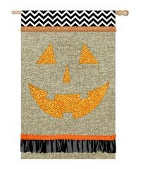 Look at this #zulilyfind! Burlap Jack-O-Lantern outdoor Outdoor Flag #zulilyfinds