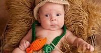 Crochet baby newborn through 12 mos fishing fisherman outfit photography props #Handmade
