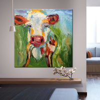 Cow paintings On Canvas Cow art canvas Farm animal painting Original oil painting Cows impasto heavy texture palette knife Wall pictures $69.00