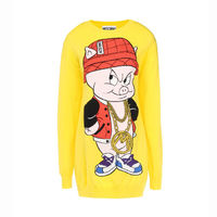 Moschino Porky Pig Long Sleeve Short Dress Yellow