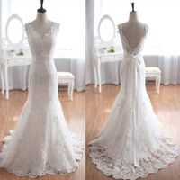 Popular Elegant V-Neck Long Mermaid White Lace Bridal Gown, Wedding Party Dresses , WD0045 #weddinghairstyles