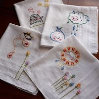 Julie West/Sublime Stitching pattern on thrifted napkins For giveaway ( roadyjane.blogspot.com/2009/07/i-want-to-give-you-present... )