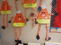 Accordian folded legs and armed Candy Corn Man. Mrs. Drakes room -THANKSGIVING AND TURKEYS