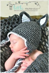 perfect for frances wolf. Crochet Wolf Beanie/ Hat Newborn Baby, via Etsy.