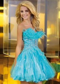 Alyce 3572 beaded Feathered Blue Tulle Bridesmaid Dress For Sale