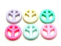 20 x Assorted Pastel Colours Acrylic Peace Symbol Charms. 16mm Round Pendant Signs. Perfect for Creating Beautiful Logo Children Jewellery. £2.59