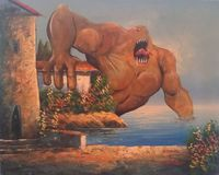 Adding monsters to dollar store paintings by Chris McMahon - Throat Shark. While he has an entire portfolio of original artworks on deviantART, McMahon gained online notoriety when he started painting monsters into the landscapes of thrift store paintings...