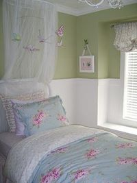 Really like this color green for the girls green and purple room.