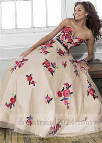 Nude Red Floral Embroidery Ball Gown Prom Dress
