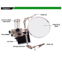 BEST BST-268Z 5X Magnifying Glass Repair Tools Loupe Magnifier Tool Alligator Clip Soldering Solder Iron Stand