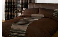 Just Contempo STRIPED DUVET COVER Chenille Luxury Poly Cotton Bedding Quilt Cover Bed Set Brown Double Duvet Cover Chenille embroidered duvet cover has a stunning striped pattern with a plain border for a contemporary design. The chenille stripes are base...