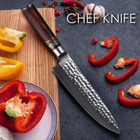 Chef Knife Damascus Laminated Steel Kitchen knives Cutlery home cooking tools $105.00