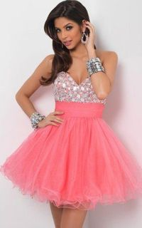 Sparkling Rhinestone Top Strapless Sweetheart Homecoming Dress