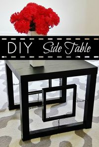 Easy DIY Side Table project! Make a side table from a Wal-Mart side table and a picture frame. Step-by-step instructions for making the DIY side table.