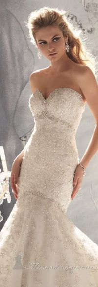 Embellished Strapless Sweetheart Net Gown by Bridal by Mori Lee