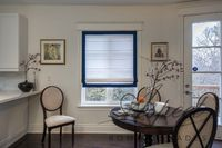 """Roman Shade """"Cheval White with four sides Navy Border"""", flat roman shade with chain mechanism, custom made window treatment $270.00"""