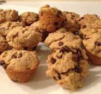 """Peanut Butter Chocolate Chip Mini Muffins: """"Perfect for snacking, breakfast on-the-go, school lunches, preschool snacks...and don't forget a big cold glass of milk to wash them down!"""" -NYAmy"""
