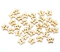 Pack of 50 Natural Wooden Star Buttons. 11mm x 12mm Plain Design Wood Symbols £4.99
