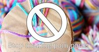 Stop making pom poms like your Grandma! A new way to make pom poms...Use an Embroidery Hoop �™�