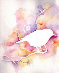 watercolor bird - idea for painting with abbi - paint or draw resists and let her paint over