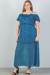 20% discount with BESTDEAL at checkout! Ladies fashion plus size blue & floral print cold shoulder maxi dress $26.50