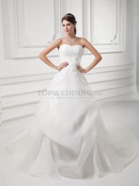 SWEETHEART ORGANZA OVER SATIN WEDDING DRESS WITH SURPLICE BODICE AND 3D FLOWER